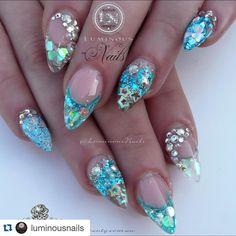 @glitter_heaven_australia Heart of the ocean Glitter, @glittergasm71 Silver Fine/Chunky Glitter, Rapids Glitter from Blazin Nails, @youngnailsinc Moody & Silver Confetti, Cover Pink, Mani Q 104 & White 101, Silver Bullion's, Silver Sea Shells, Star Confetti, Rock Star Glitter, Fabulous Nails, Gorgeous Nails, Love Nails, Pretty Nails, Mylar Nails, Glitter Nails, Almond Acrylic Nails, Acrylic Nail Art, Almond Nails