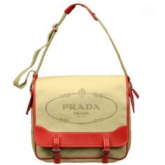This is a messenger bag but the colors and Prada logo feminize it. I love this even though I'm not a fan of wearing logo'd stuff...
