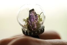 Amethyst crystal ring Terrarium jewellery by RubyRobinBoutique
