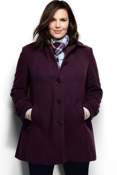 Women's Plus Size Luxe Wool Swing Coat from Lands' End