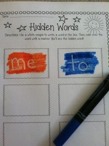 Terrific word work center!  Students write words with white crayon then color over them with a marker to see the hidden word.  Follow link for free worksheet.  Thank you Adventures in First blog!