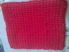 handknit baby blanket, washable yarn pram, unisex, red, Rico