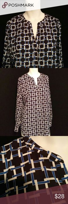 Talbots shirt Pretty Talbots black, white and blue shirt with fun  geometric shapes. Long, can wear out and mot tucked in. Size large. Great with black slacks or white jeans. Talbots Tops