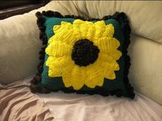 Large Sunflower Pillow pt 1 - Crochet tutorial - YouTube