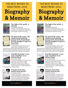 """We just added this bookmark with a best of list of Biographies & Memoirs. It matches the end cap flyer already in LibraryAware. Search """"Biography"""" in any bookmark section and Flyers-Books."""