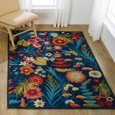 Hand-hooked Floral Navy/ Multi Transitional Rug - x (Navy/Fiesta - x Blue, Alexander Home Hand Hooked Rugs, Navy Rug, Floral Area Rugs, Transitional Rugs, Carpet Stains, Home Rugs, Indoor Rugs, Online Home Decor Stores, Online Shopping