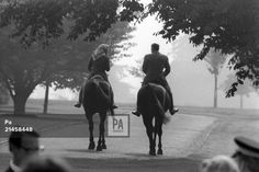 Queen Elizabeth II and American President Ronald Reagan out riding in Windsor Home Park. The…