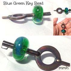 Handmade Lampwork Glass Key Focal Bead by rosebud101 on Etsy