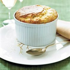 """Fresh Corn Soufflé with Bacon and Comté 
