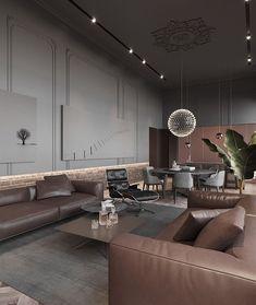 Intermediate key, minor chord tonal values feature in this interior space. Interior Design Living Room, Living Room Designs, Living Spaces, Living Rooms, Interior Exterior, Interior Architecture, Interior Minimalista, Contemporary Interior, Villa