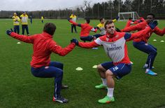 Tomas Rosicky and Jack Wilshere training on Valentines day.