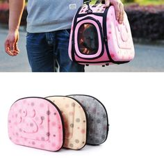 Pet Foldable Travel Bag Portable Carrier Handbag with Mesh Windows 3 Colors Pink Tan or Gray with