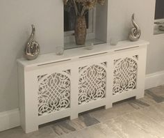 Beautiful Radiator Cover. Handmade in the UK.  Standard and Bespoke Custom Cabinets available.  Gothic Style with Baroque Grille.  French, Shabby Chic style also available.