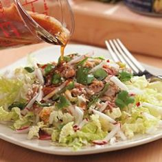 This tuna salad looks delicious. I LOVE cold tuna with lettuce, and this recipe has an Asian Sesame dressing. I can't wait to try this. a light, healthy, filling dinner. Easy Cabbage Recipes, Radish Recipes, Lunch Recipes, Salad Recipes, Dinner Recipes, Seafood Recipes, Seafood Dishes, Yummy Recipes, Free Recipes