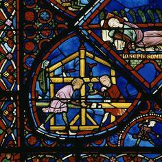 Cathédrale Saint-Etienne de Bourges.Choeur, déambulatoire, vitrail de la vie DESCRIPTION:du patriarche Joseph (détail) PÉRIODE 13e siècle TECHNIQUE/MATIÈRE vitrail (technique) LOCALISATION