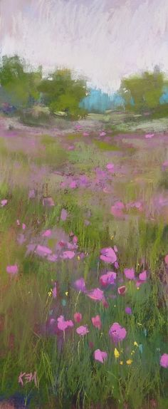 """Daily Paintworks - """"Variation on a Theme: More Pink Poppies"""" - Original Fine Art for Sale - © Karen Margulis Pastel Landscape, Abstract Landscape, Landscape Paintings, Pastel Artwork, Pastel Paintings, Wild Flower Meadow, Impressionist Landscape, Pastel Drawing, Abstract Flowers"""