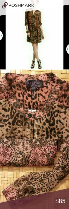 "Anthropologie Silk Animal Print Dress- MED Our household includes a military veteran with cancer. Please respect our time. *NO TRADES WHATSOEVER*  From Anthropologie, HALE BOB 100% silk dress features animal print in two different color tones of rust & brown. Buttons down front to waist. Sleeves are full length but may be rolled as seen in 1st pic. Tie belt. Unlined. Dress is 35"" long. BRAND NEW, NEVER WORN with original tags   I work in L.A as a wardrobe stylist for film and television. All…"