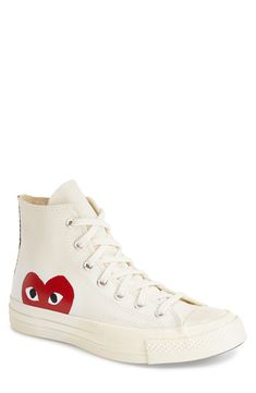 Find Comme des Garcons PLAY x Converse Chuck Taylor Hidden Heart High Top Sneaker (Women) online. Shop the latest collection of Comme des Garcons PLAY x Converse Chuck Taylor Hidden Heart High Top Sneaker (Women) from the popular stores - all in one High Top Sneakers, Moda Sneakers, Sneakers Mode, Converse Sneakers, Best Sneakers, Sneakers Fashion, Cool Converse High Tops, Converse Fashion, White Sneakers