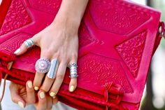 clutch and jewelry.
