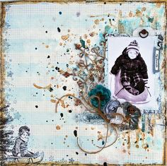 Mixed Media layout featuring Shimmerz products. http://suchawonderfulmess.blogspot.ca/2014/02/sparkle.html