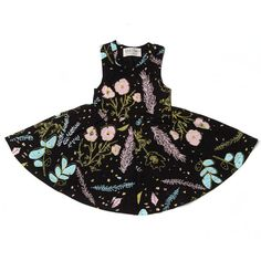 Desert Floral Twirling Dress in Blue Mint, Pale Pink and Yellow Ochre on Black on Etsy, $74.00