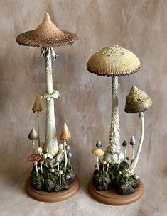 Two large mushroom sculptures. Mushroom Crafts, Mushroom Decor, Mushroom Art, Large Mushroom, Polymer Clay Sculptures, Sculpture Clay, Polymer Clay Crafts, Soft Sculpture, Diy And Crafts