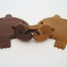 Bear Rug Coaster Set Of 2 Brown