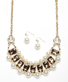 Gold & Brown Pearl Frame Bib Necklace & Earrings Set | zulily