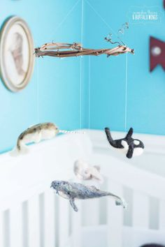 Baby Mobile Needle Felted Whales crib mobile by seedsandsome