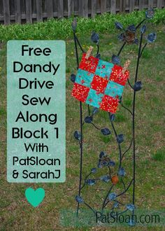 Free flower quilt pattern download at http://blog.patsloan.com/2017/04/free-sew-along-dandy-drive-block-1.html