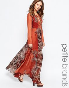 Glamorous Petite Paisley Print Maxi Dress With Lace Up Front