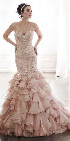 Blush Mermaid Ruffles Wedding Dresses / http://www.himisspuff.com/mermaid-wedding-dresses/5/