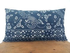"14""x 24"" Vintage Chinese Indigo Batik Pillow Cover, HMONG Batik Indigo Pillow Case, Boho Throw Pillow, Ethnic Costume Textile Cushion Cover"