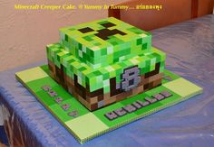 minecraft birthday party for boys creeper cake & creeper birthday party + creeper minecraft birthday party + creeper diy birthday party ideas + minecraft birthday party for boys creeper cake Minecraft Torte, Minecraft Birthday Cake, Minecraft Cookies, Boy Birthday Parties, Birthday Fun, Birthday Ideas, Birthday Cakes, Birthday Activities, Creeper Cake