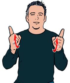Boss - Index finger extended on both hands pointing forwards at shoulder height. Hands twist back so that index fingers point upwards. British Sign Language (BSL)