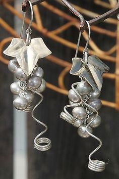 Vintage Sterling Silver Grapes Dangle Pierced Earrings | eBay
