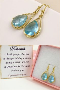 Gold Aqua Earrings Beach Wedding Jewelry Bridesmaid Gift for Bridesmaids Maid of Honor Gift for Best Friend Gift Idea Delicate Jewelry