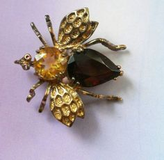 antique bee jewelry | Vintage Amethyst And Topaz Glass Bee ... | Vintage Jewelry Sellers on ...