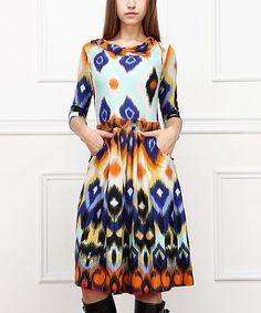 Another great find on #zulily! Cobalt & Rust Ikat A-Line Dress - Women by Reborn Collection #zulilyfinds