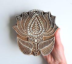 Huge Lotus Flower Stamp: Hand Carved Indian Printing Block, Large Wooden Stamp…