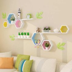 Wooden Wall Decor Modern Village Colored Hexagon Frame Wall Shelf Hanging Organizer Christmas Wall Decorations For Home Living - decorations for home - decorative decorative - decor for wall - AliExpress Wooden Wall Decor Modern Village . Wooden Wall Decor, Room Wall Decor, Baby Room Decor, Diy Wall Decor, Wall Decorations, Kids Bedroom Designs, Kids Room Design, Hexagon Shelves, Regal Design