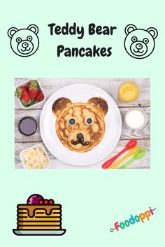 These Teddy Bear Pancakes are so delicious and really easy to make. The cooking and preparing time over all is 20 minutes. Check out this video to learn how to do it! Healthy Recipe Videos, Super Healthy Recipes, Banana Pancakes, Food Videos, Sweet Treats, Teddy Bear, Tasty, Cooking, Check