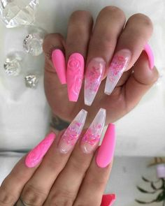 Are you looking for acrylic coffin nail color designs for fall and winter? See our collection full of cute acrylic coffin nail color design ideas and get inspired! Nail Art Designs, Cute Acrylic Nail Designs, Pretty Nail Designs, Colorful Nail Designs, French Nails Glitter, Pink Acrylic Nails, Pink Nails, Glitter Nails, Pretty Nail Colors