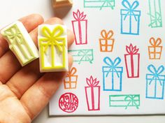 gift box rubber stamps. hand carved rubber stamp. by talktothesun, $18.00
