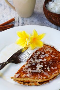 Try these delicious low carb coconut pancakes - a traditional Indonesian recipe! This keto coconut pancake recipe is easy and quick to make.