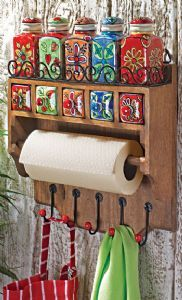 Kitchen Rack~Wooden Utility Rack with Hand Painted Ceramic Jars~STC12 Fair Trade Folio Gothic Hippy