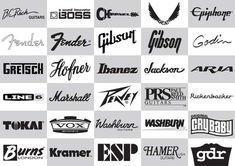 Awesone collection of logos related to guitars