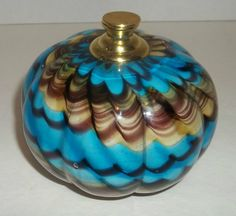 Murano Paperweight Art Glass Cased Pulled Feather Gold Tone Knob  Blue Brown