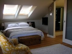 Really like this bedroom - grey, white and yellow