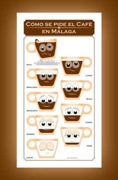 There are many ways to order a coffee at a cafe in Malaga, Spain: it has a different name depending on the proportion between coffee and milk. A funny lesson in gastronomic geography! Yours at http://www.latostadora.com/malagaquick/como_se_pide_el_cafe_en_mal/381123